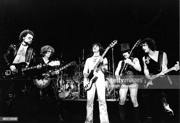 Blue Oyster Cult perform live on stage at Paradiso in Amsterdam Netherlands on November 07 1975 LR Eric Bloom Albert Bouchard Buck Dharma Allen...