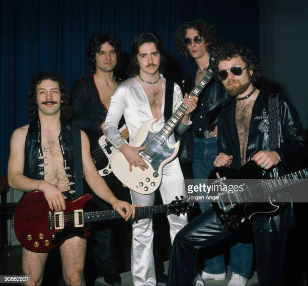 Blue Oyster Cult pose for a group shot Allen Lanier Joe Bouchard Buck Dharma Albert Bouchard and Eric Bloom on October 27th 1975 in Copenhagen Denmark