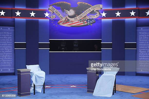 Blue paper covers the chairs that Republican presidential nominee Donald Trump and Democratic presidential nominee Hillary Clinton will use during...