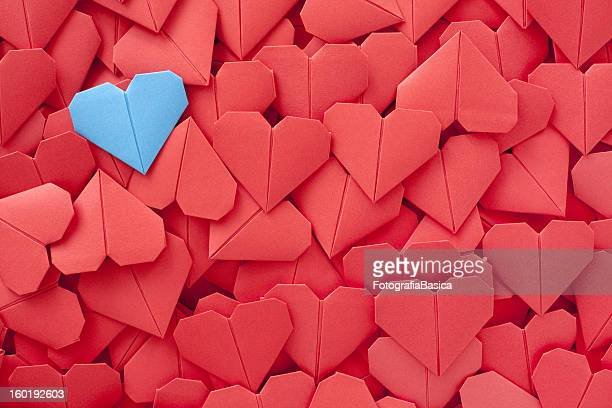 blue paper heart - heart background stock pictures, royalty-free photos & images