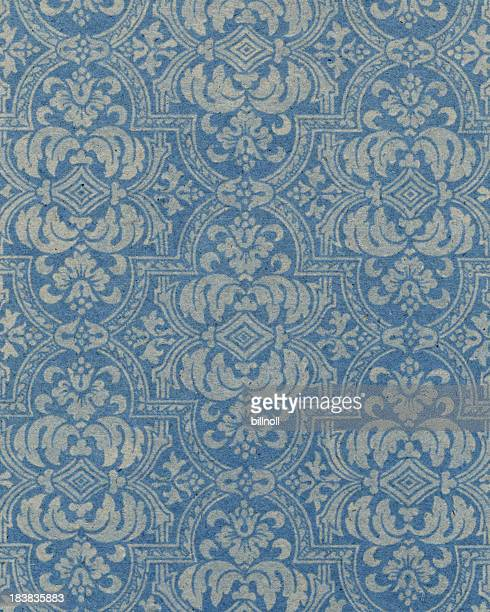blue paper with floral pattern