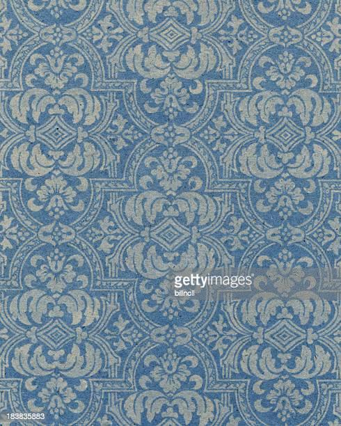 ブルーの紙に花柄