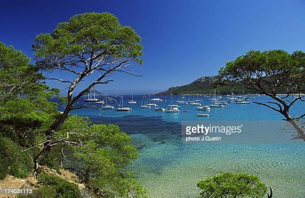 blue paradise - porquerolles - côte d'azur photos et images de collection
