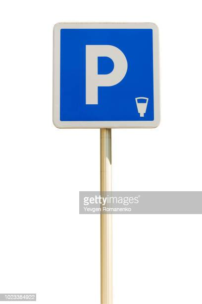 blue parking sign isolated on a white background - road sign stock pictures, royalty-free photos & images
