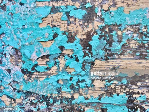 Blue Peeling Paint on Wood