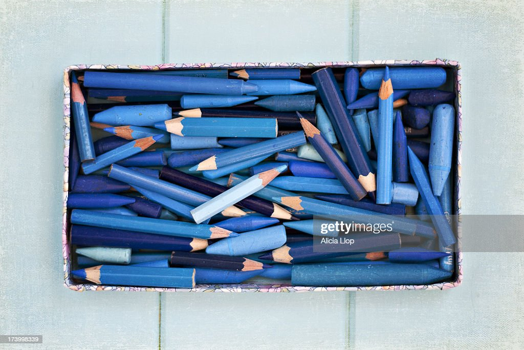 Blue pencils : Stock Photo