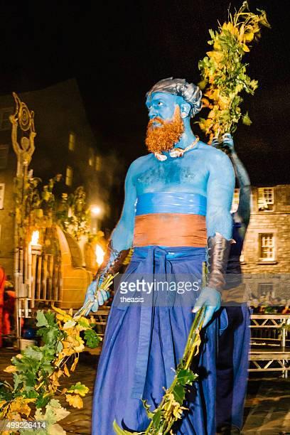 blue performers at the samhuinn fire festival, edinburgh - samhuinn stock photos and pictures