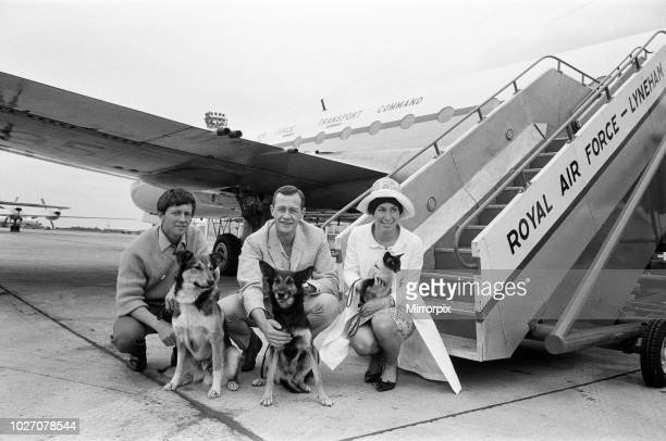 Blue Peter flies to the Far East Pictured at RAF Lyneham are presenters John Noakes Christopher Trace and Valerie Singleton Also with them are the...