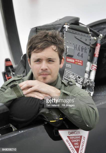 Blue Peter presenter Barney Harwood in a T1 Hawk after arriving at RAF Fairford during the launch of the 2012 Royal International Air Tattoo.