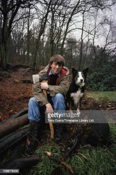 Blue Peter presenter John Noakes with Shep the dog 1976