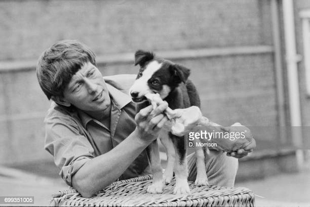 'Blue Peter' presenter John Noakes with the show's new puppy a border collie named Shep UK 14th September 1971
