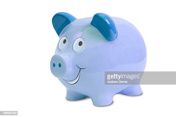 blue piggy bank isolated on white with path. - andrew dernie stock-fotos und bilder