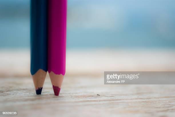 Blue & Pink pencils on a pontoon