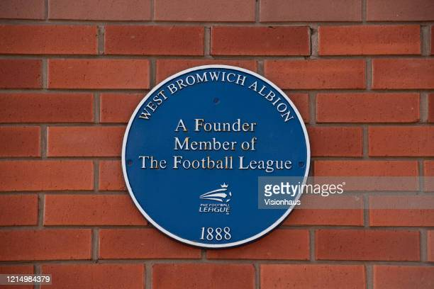 Blue plaque commemorating WBA being a founding member of the Football League on the wall of the Bormingham Road End of The Hawthorns home of West...
