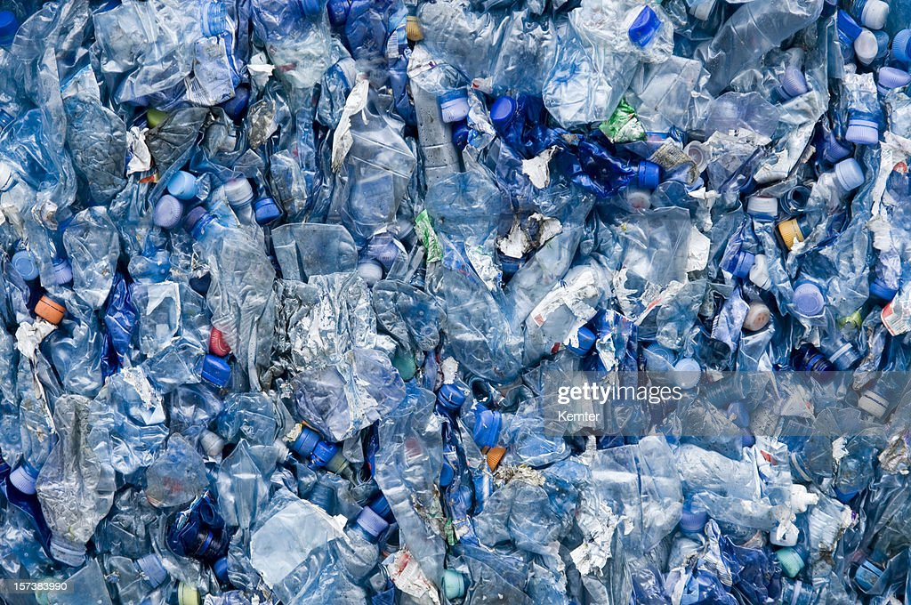 blue plastic garbage : Stock Photo