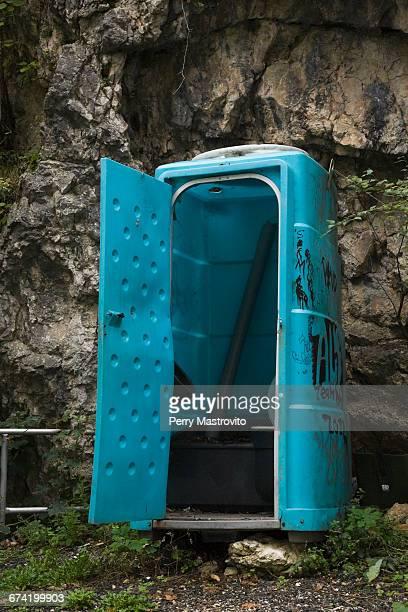 Blue plastic portable toilet