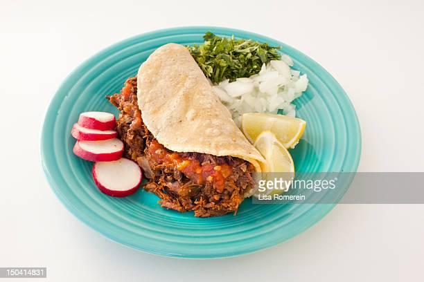blue plate with birria taco and fresh toppings - carne assada imagens e fotografias de stock