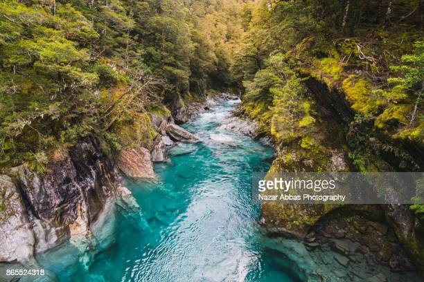 Blue Pools and the Makarora River on the West Coast of the South Island of New Zealand.