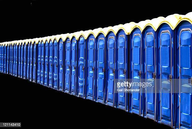 Blue portable toilets
