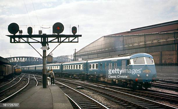 Blue Pullman set arriving at Paddington on 5/9/62 A 'Warship' is just visible in the distance