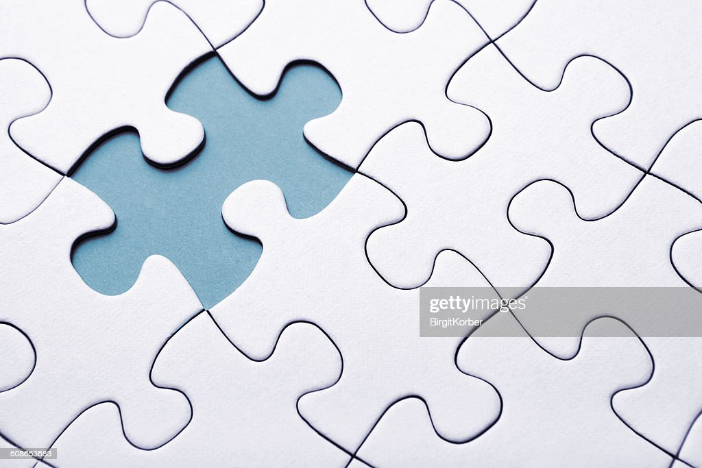 Blue puzzle piece missing : Stock Photo