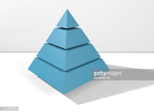 blue pyramid, abstract geometric shapes, 3d rendering - pyramidform bildbanksfoton och bilder