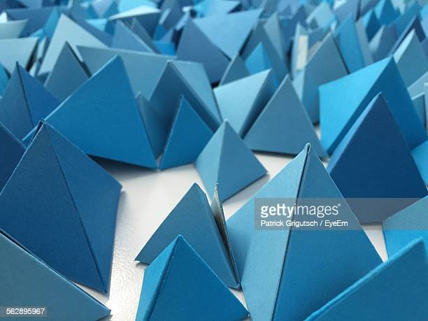 Blue Pyramids On Table