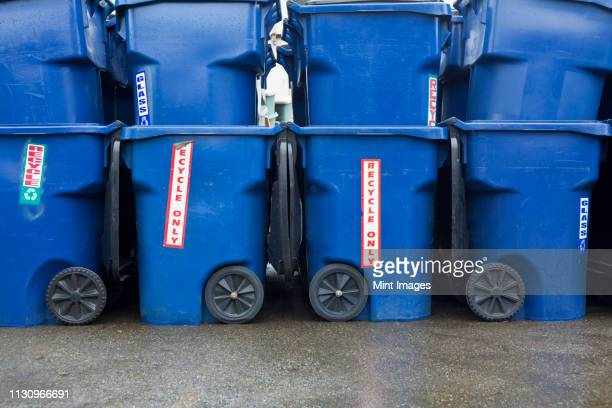 blue recycle bins - industrial storage bins stock pictures, royalty-free photos & images