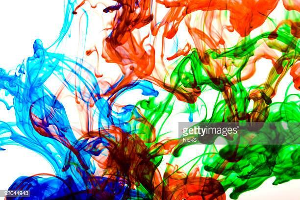 Blaue, rote und grüne Tinte