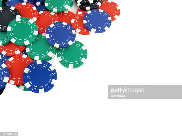 Blue red and green poker chips