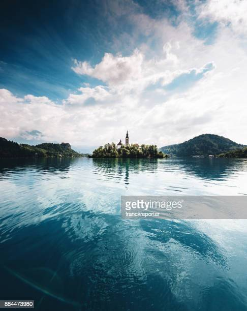 blue reflections at the bled lake