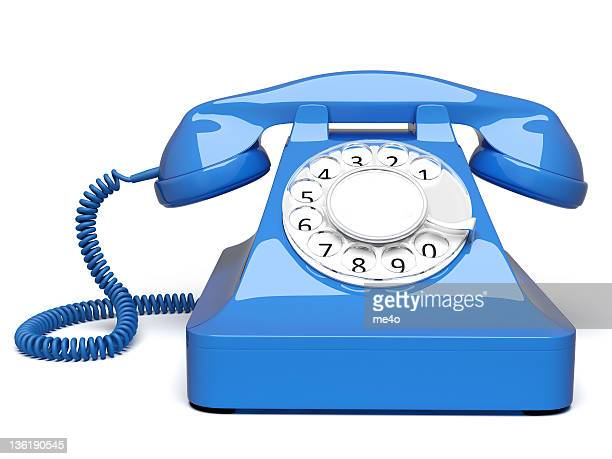 blue retro styled telephone front view