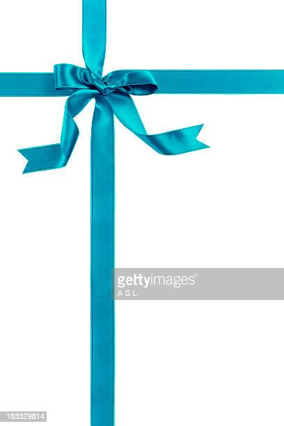 Blue ribbon and bow over a white background
