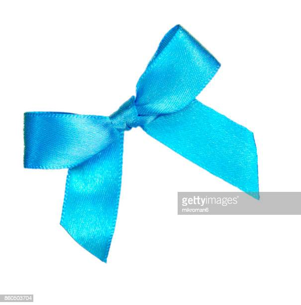 blue ribbon on white background - tied bow stock pictures, royalty-free photos & images