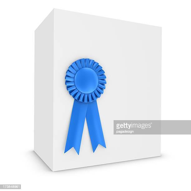 blue ribbon on white box