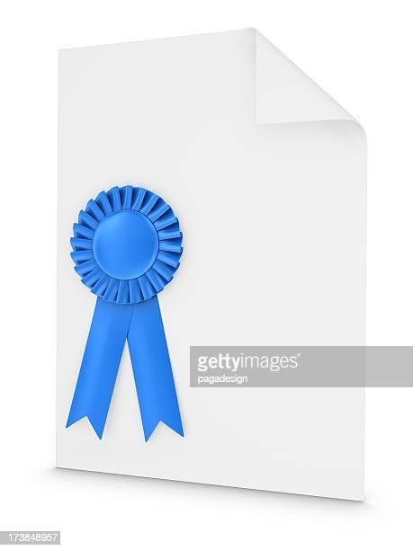 blue ribbon on white document