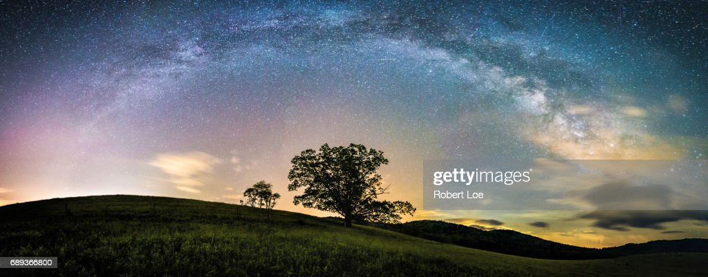 Blue Ridge Mountain Milky Way Panorama : Stock Photo