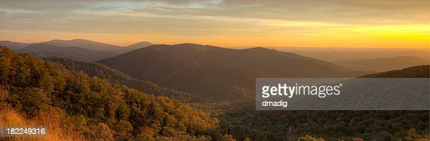 blue ridge mountains at dusk - skyline drive virginia stock photos and pictures