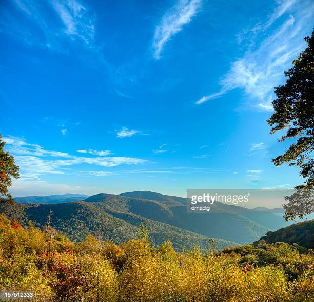 blue ridge mountains on a sunny morning - skyline drive virginia stock photos and pictures