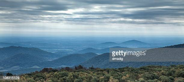 blue ridge mountains on an overcast day - skyline drive virginia stock photos and pictures
