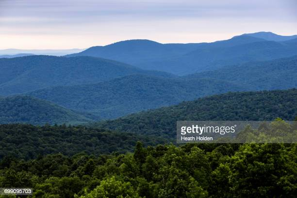 blue ridge mountains view from shenandoah national park. - shenandoah_national_park stock pictures, royalty-free photos & images