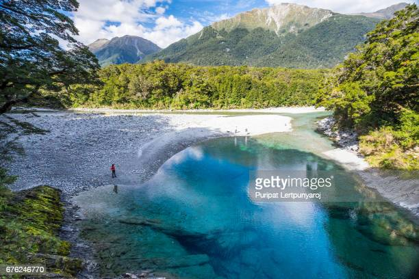 blue river gorge in the south island of new zealand. - rotorua stock pictures, royalty-free photos & images