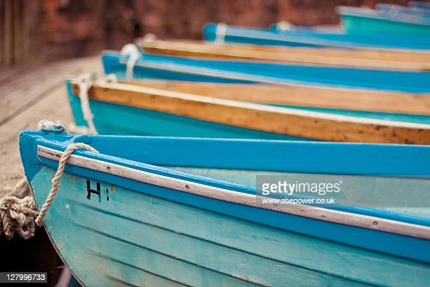 Blue rowing boats