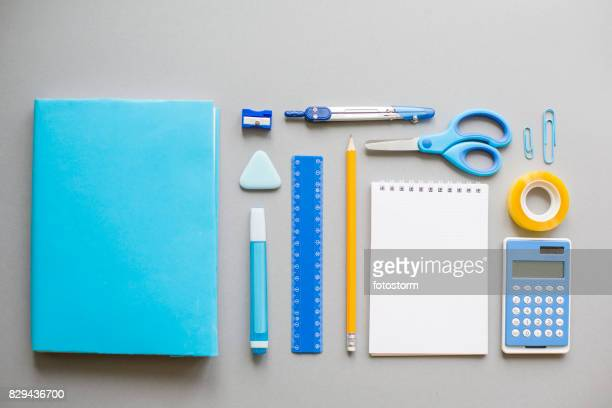 blue school supplies on grey background - knolling concept stock pictures, royalty-free photos & images