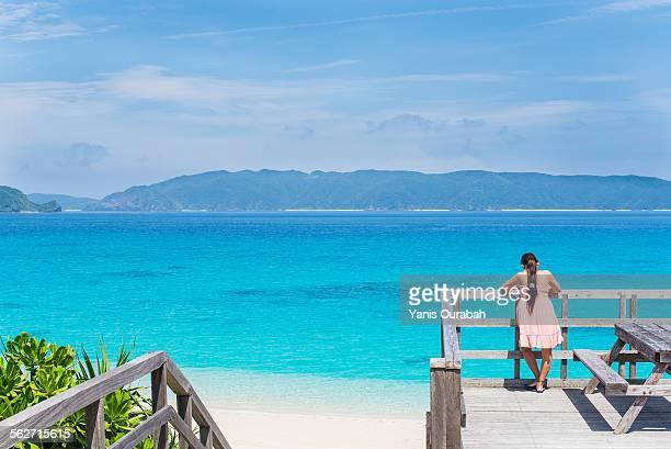 Blue sea white beach and blue sky, Okinawa, Japan