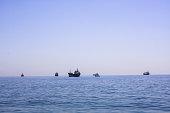 ships seascape horizon natural blue background