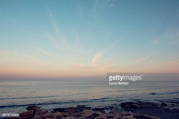 Blue seaside landscape