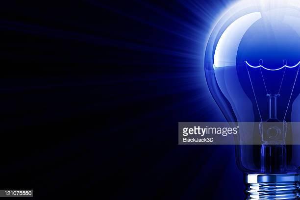 Blue Shine Of Light Bulb