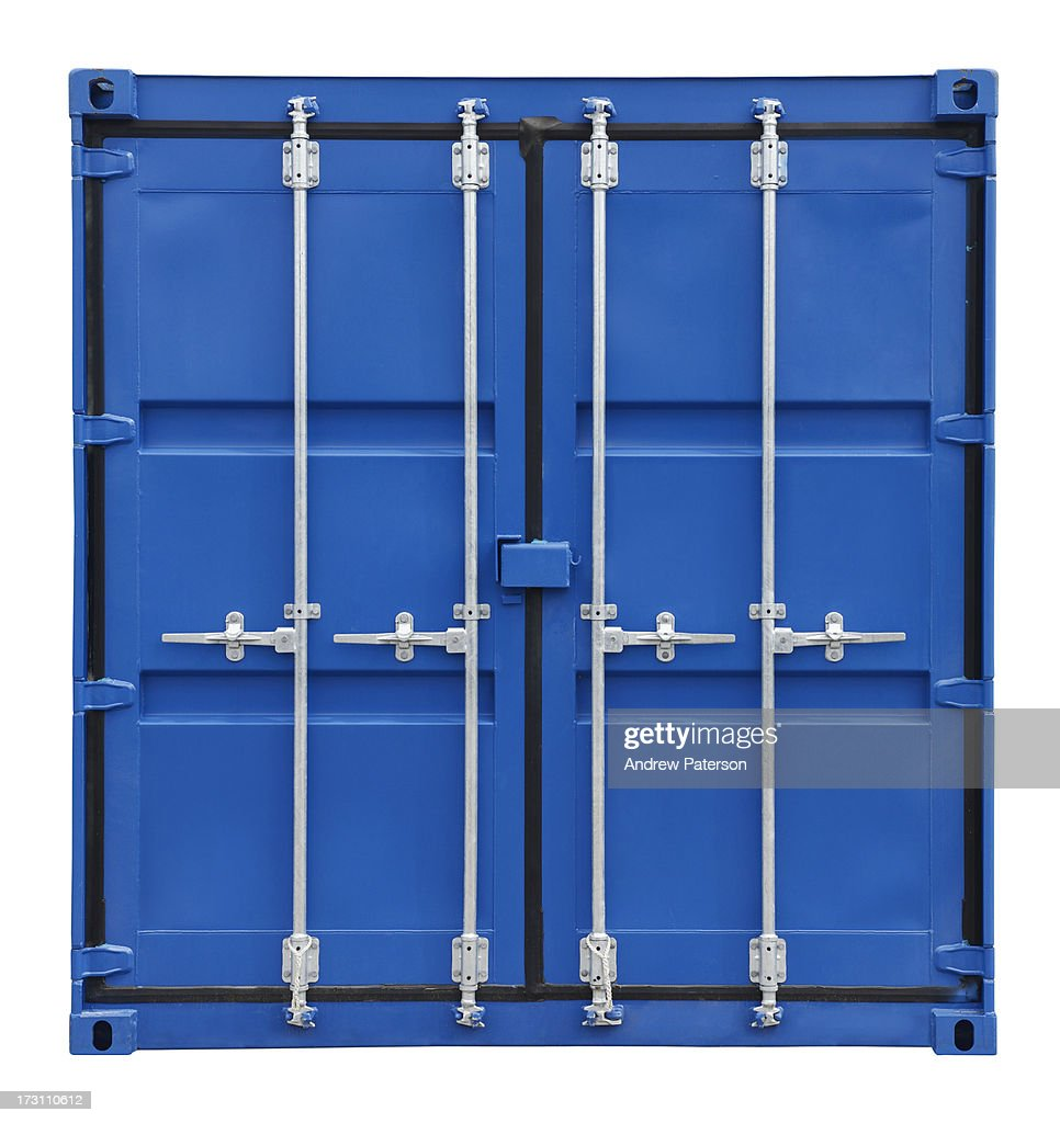 Blue shipping container doors : Stock Photo