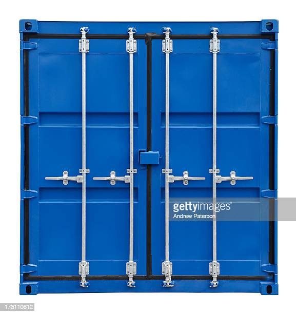 Blue shipping container doors